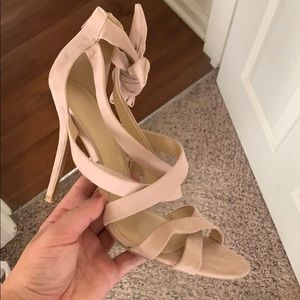 Blush heels with ankle wrap